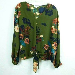 Umgee Tie Front Blouse M Olive Green Floral Top